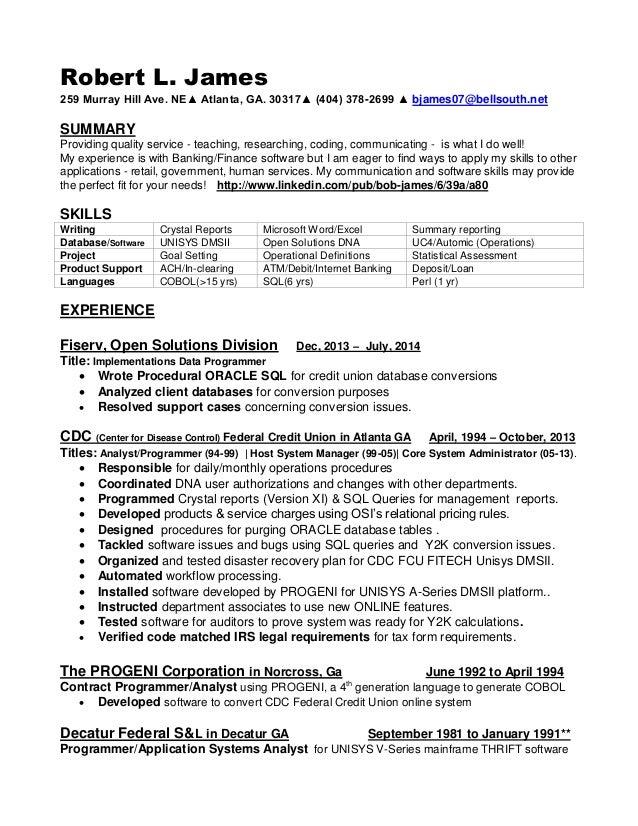 Resume for Robert James Analyst Position