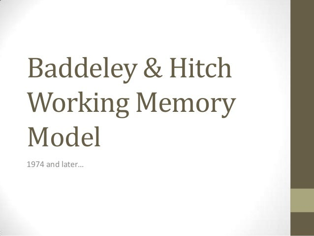 Baddeley & Hitch Working Memory Model 1974 and later…