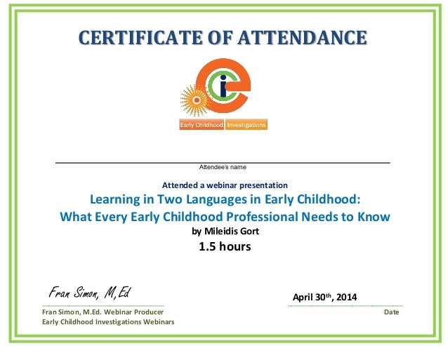 early certificate childhood webinar learning slideshare attendance upcoming