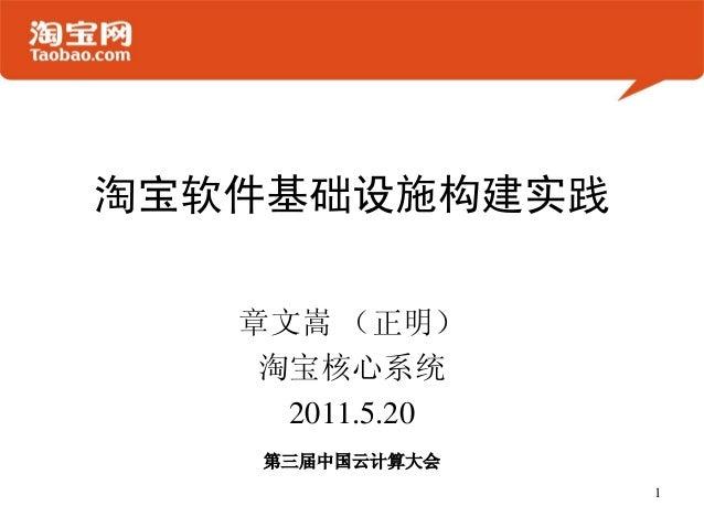 淘宝软件基础设施构建实践章文嵩 (正明)淘宝核心系统2011.5.201第三届中国云计算大会