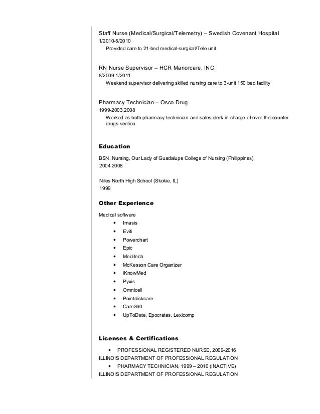 Medical surgical telemetry resume