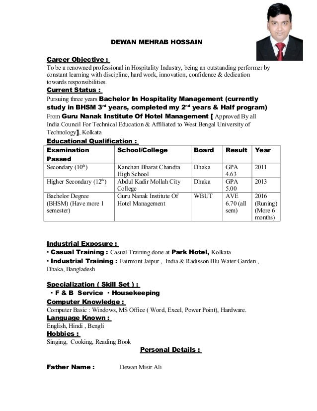sample resumes for hospitality industry resume format for hotel