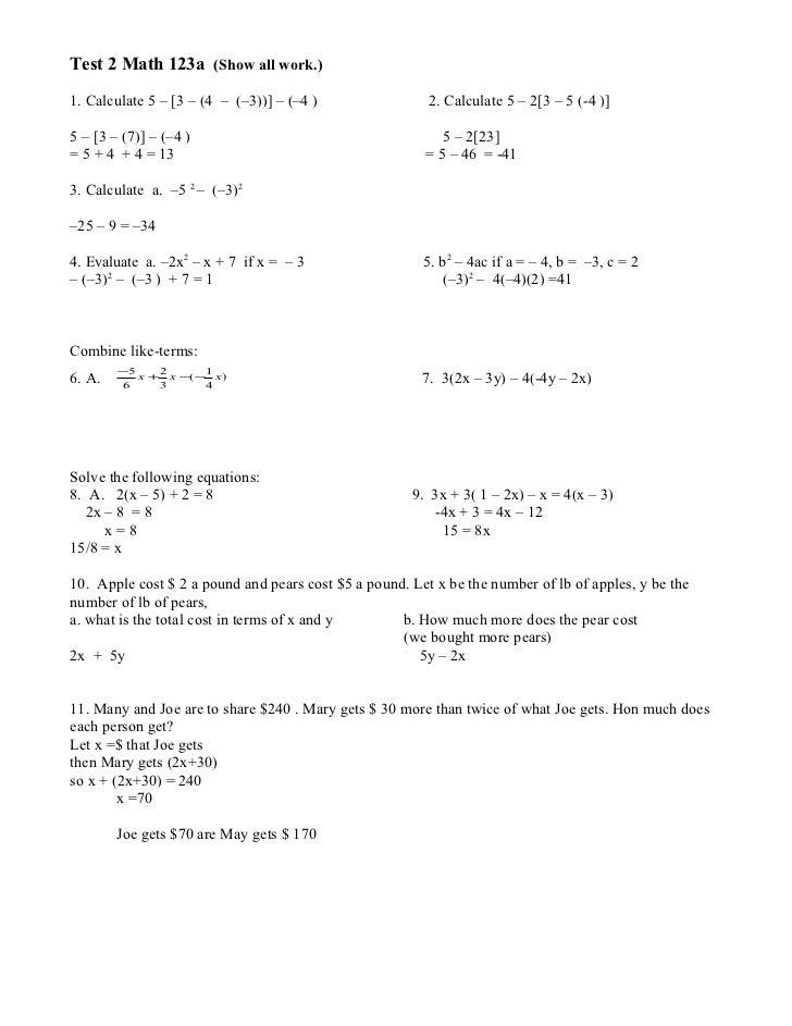 Test 2 Math 123a (Show all work.)1. Calculate 5 – [3 – (4 – (–3))] – (–4 )                2. Calculate 5 – 2[3 – 5 (-4 )]5...