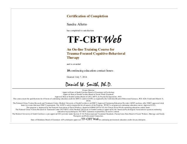 Certification of Completion TFCBT