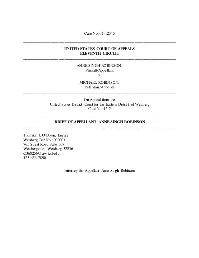 appellate brief example Sample winning briefs as pointed out elsewhere on this web site, written briefs are by far the most important part of an appeal below are links to two fairly recent winning briefs that john derrick has filed.