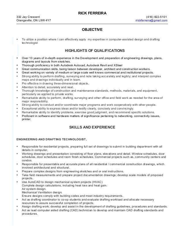 drafting technologist rf resume
