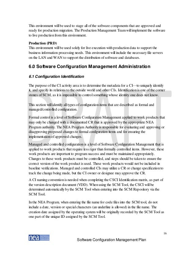 Nea Configuration Management Plan Version Final
