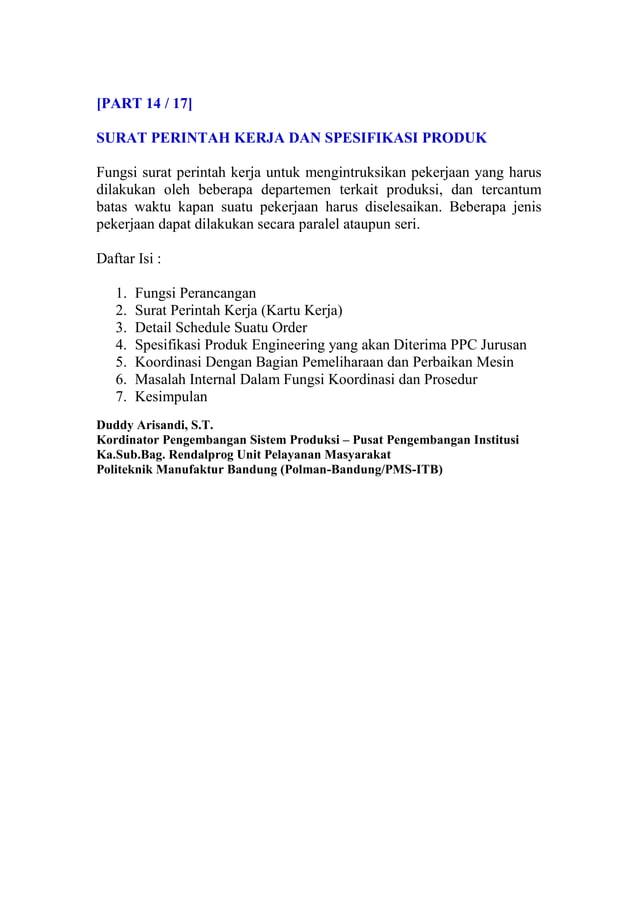 [PART 14 / 17] SURAT PERINTAH KERJA DAN SPESIFIKASI PRODUK Fungsi surat perintah kerja untuk mengintruksikan pekerjaan yan...