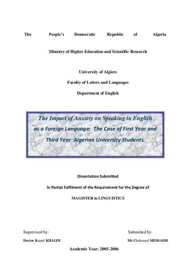 The Impact Of Anxiety On Foreign Language Speaking The Case Of Firs