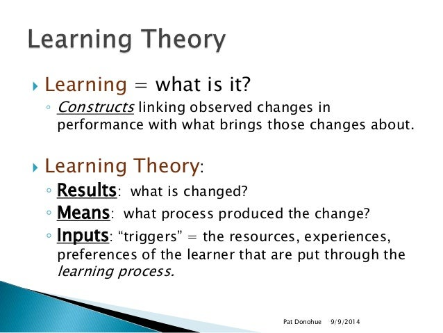 Learning Theories To Instructional Design