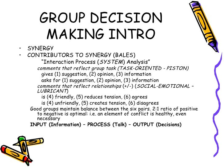 group decision making report Many business games involve small groups of participants who work as teams to  solve business-related problems the assumption is frequently made that (1).