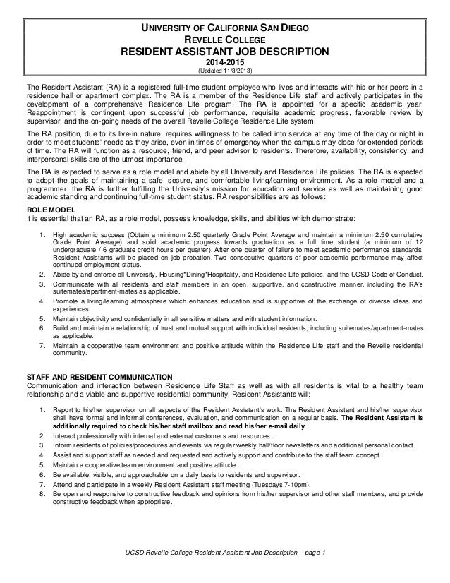 UCSD Revelle College Resident Assistant Job Description U2013 Page 1 UNIVERSITY  OF CALIFORNIA SAN DIEGO REVELLE ...