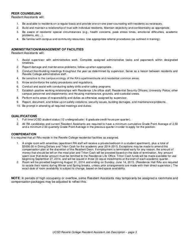 High Quality 3. UCSD Revelle College Resident Assistant Job Description ...