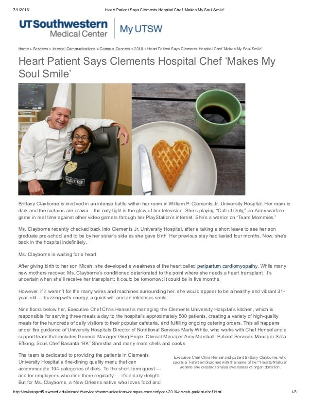 Heart Patient Says Clements Hospital Chef 'Makes My Soul Smile'
