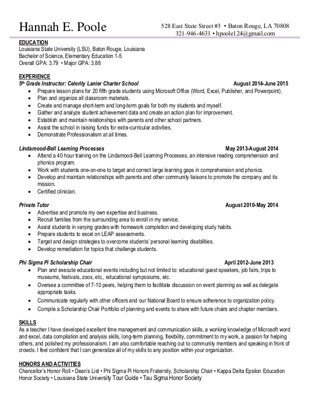 NonProfit Resume. Hannah E. Poole EDUCATION Louisiana State University  (LSU), Baton Rouge, Louisiana  Non Profit Resumes