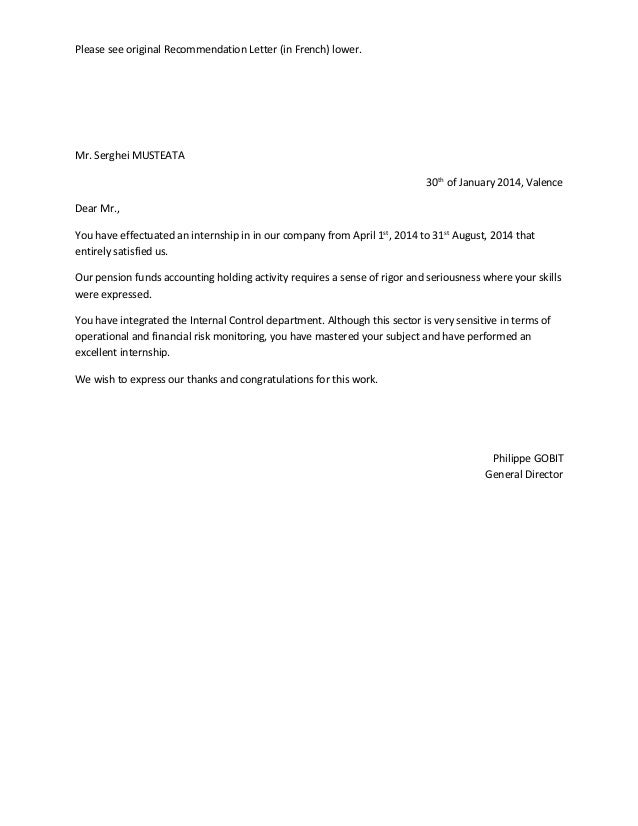 letter of recommendation in french - Hizir kaptanband co