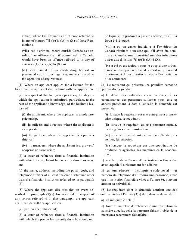 DORS/84-432 — 17 juin 2015 7 voked, where the offence is an offence referred to in any of clauses 7(1)(a)(iv)(A) to (X) of...
