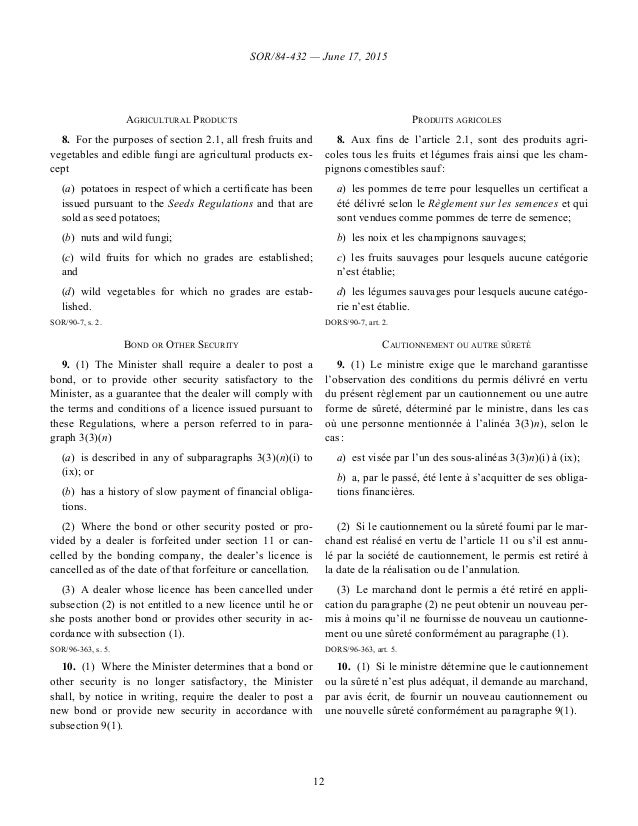 SOR/84-432 — June 17, 2015 12 AGRICULTURAL PRODUCTS PRODUITS AGRICOLES 8.For the purposes of section 2.1, all fresh fruit...