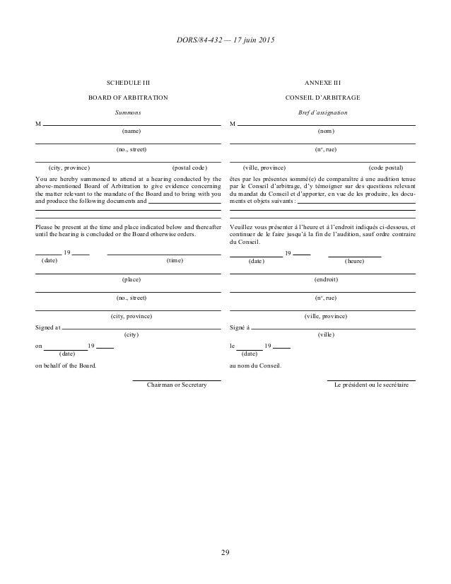 DORS/84-432 — 17 juin 2015 29 SCHEDULE III ANNEXE III BOARD OF ARBITRATION CONSEIL D'ARBITRAGE Summons Bref d'assignation ...