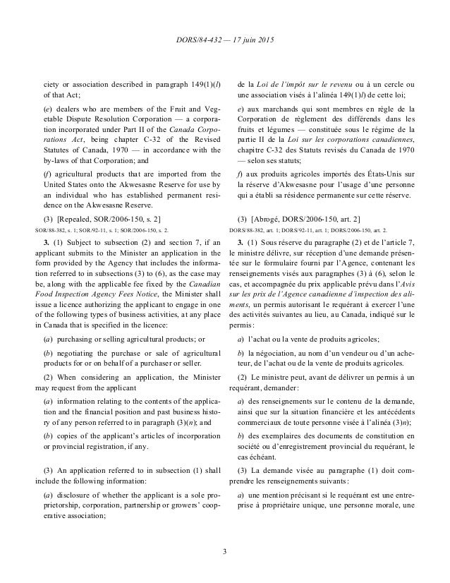 DORS/84-432 — 17 juin 2015 3 ciety or association described in paragraph 149(1)(l) of that Act; (e)dealers who are member...