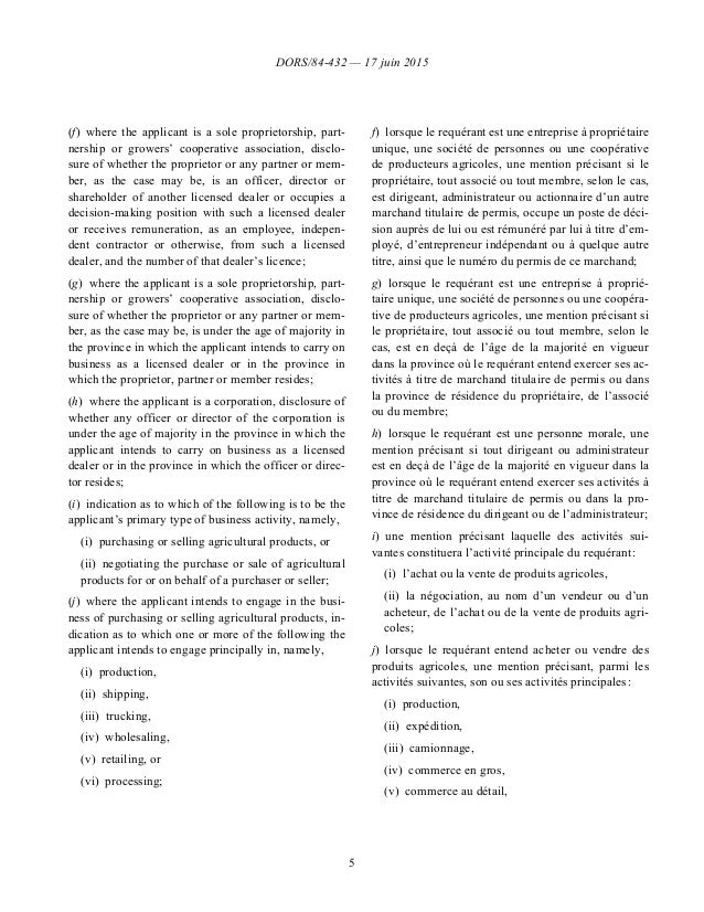 DORS/84-432 — 17 juin 2015 5 (f)where the applicant is a sole proprietorship, part- nership or growers' cooperative assoc...