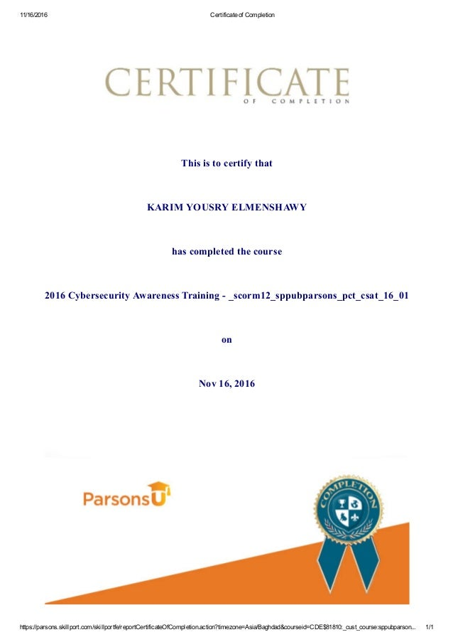 Cybersecurity Awareness Certificate Of Completion