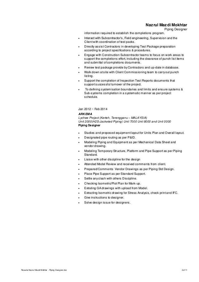 2 nazrul mazdi mokhtar piping - Piping Field Engineer Sample Resume