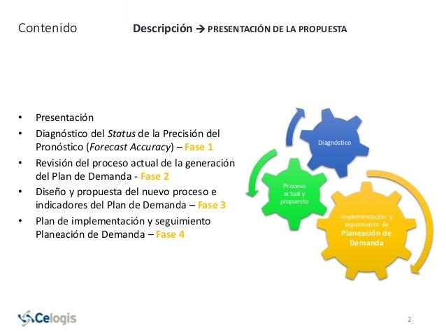 Contenido Descripción  PRESENTACIÓN DE LA PROPUESTA • Presentación • Diagnóstico del Status de la Precisión del Pronóstic...