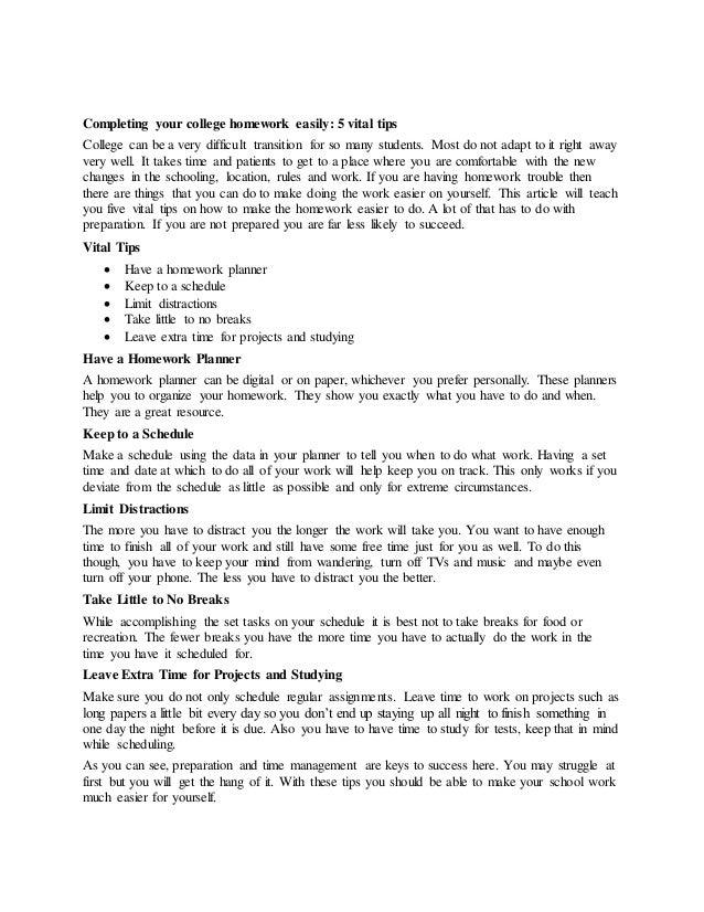 college homework tips