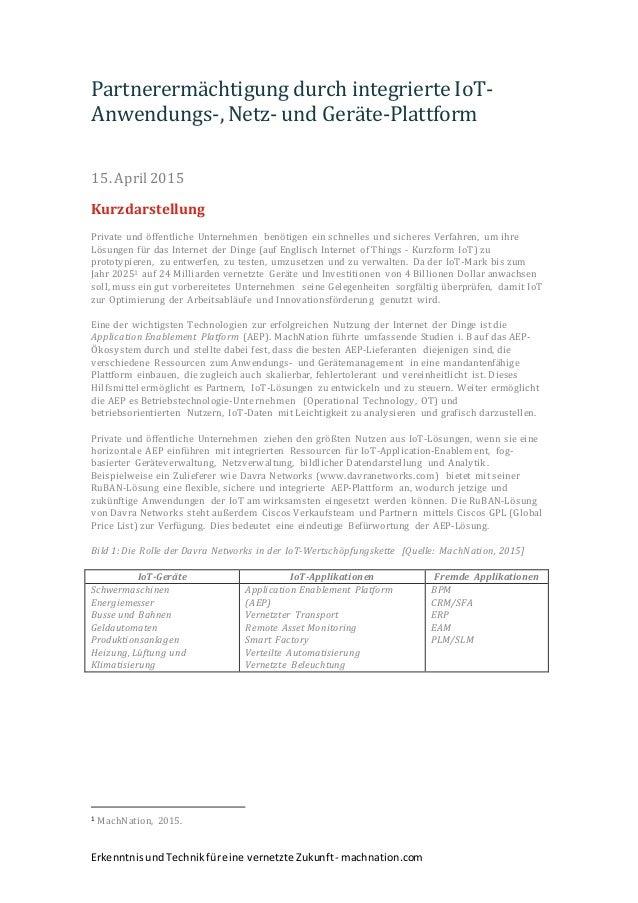 ErkenntnisundTechnikfüreine vernetzte Zukunft- machnation.com Partnerermächtigung durch integrierte IoT- Anwendungs-, Netz...
