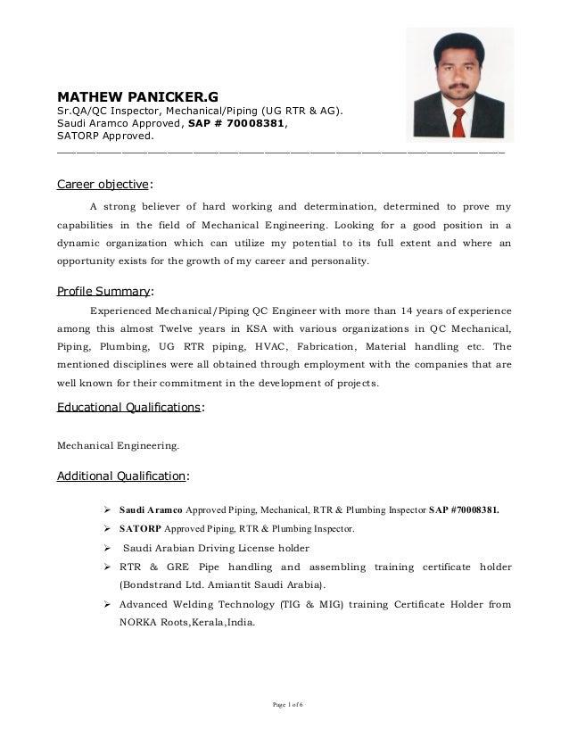Mathew Panicker-Sr  QC Eng  Mech  Piping (UG & AG)  Er