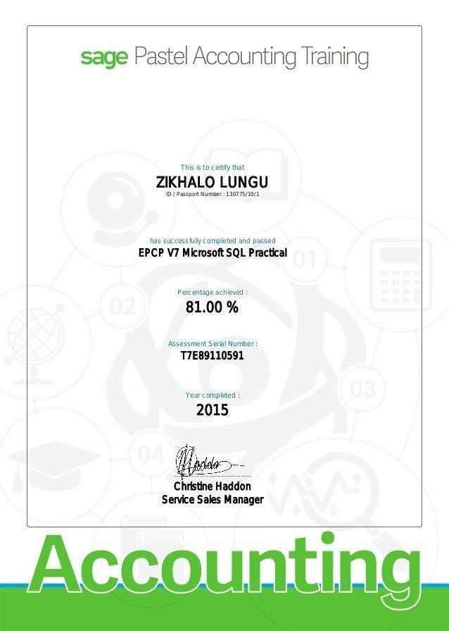 Sage Pastel Evolution Certificate Microsoft Sql Practical