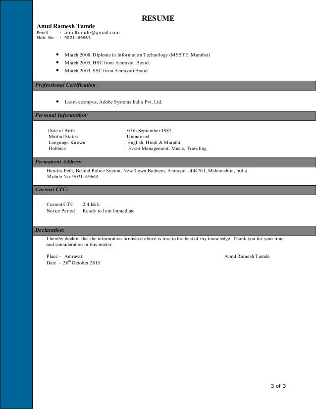 ready resume in english