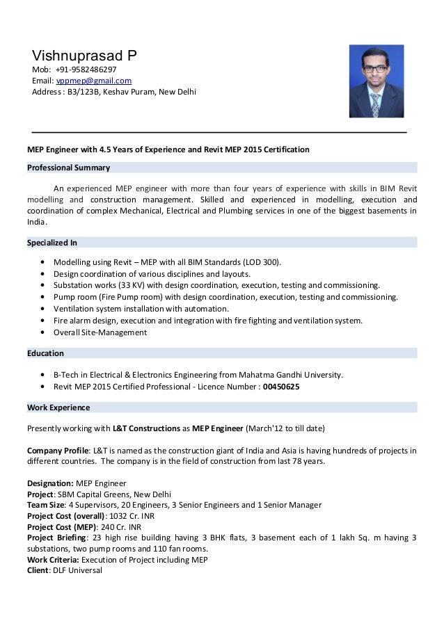 Mep Engineer With Revit Certification