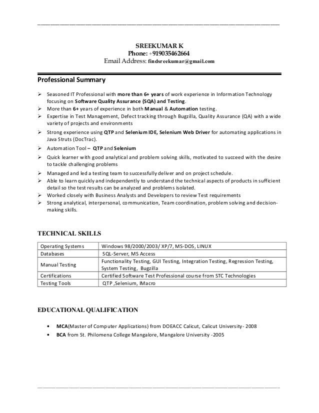 sreekumar 6 years qa manual automationqtp tester resume