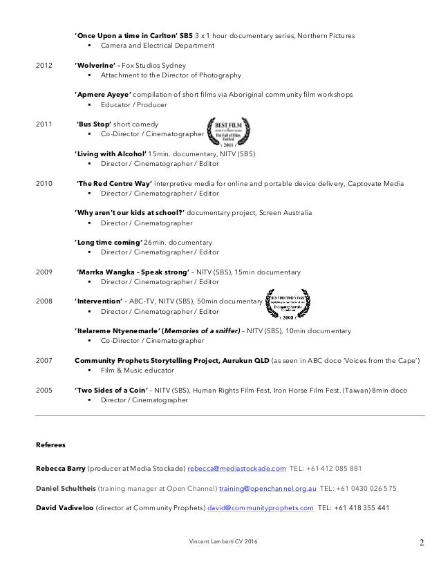 vincent lamberti director cinematographer cv 2016