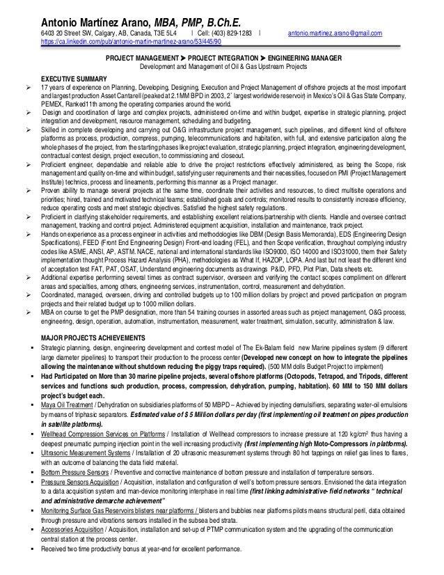Antonio MartinezArano B. Ch. E, MBA, PMP, Resume