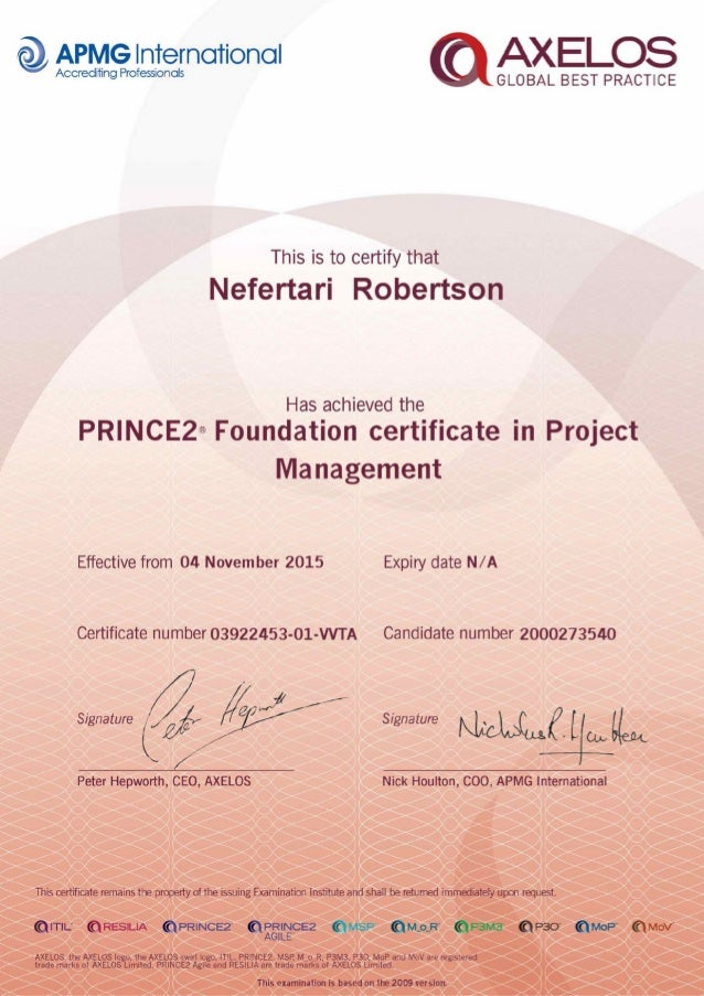 Prince2 Project Management Certificate