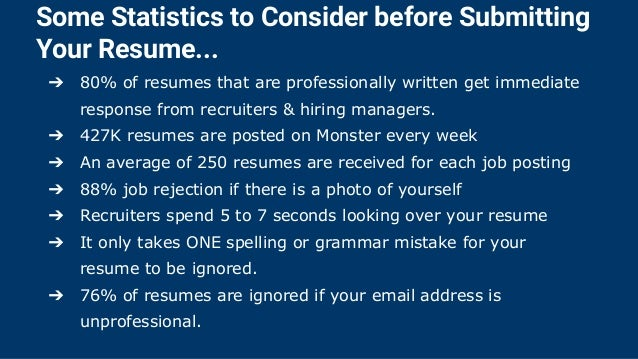 5. Some Statistics To Consider Before Submitting Your Resume.