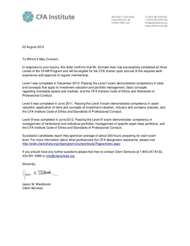 Cfa Confirmation Letter