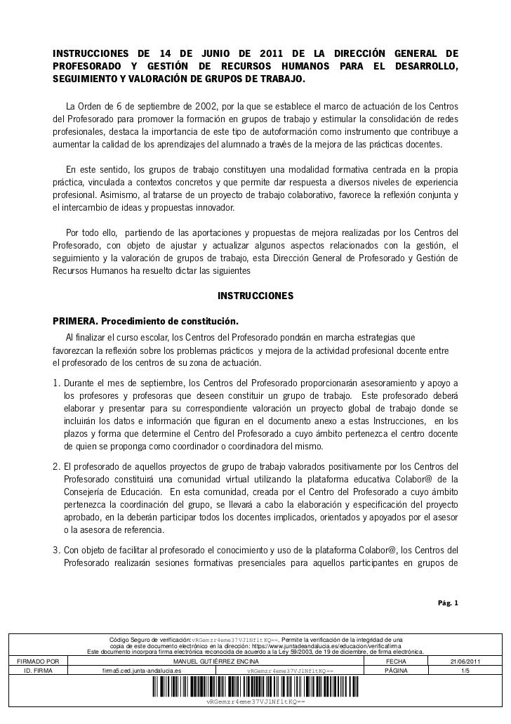 INSTRUCCIONES DE 14 DE JUNIO DE 2011 DE LA DIRECCIÓN GENERAL DE             PROFESORADO Y GESTIÓN DE RECURSOS HUMANOS PARA...