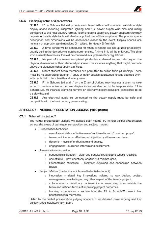 F1 In Schools World Finals Regulations 2013
