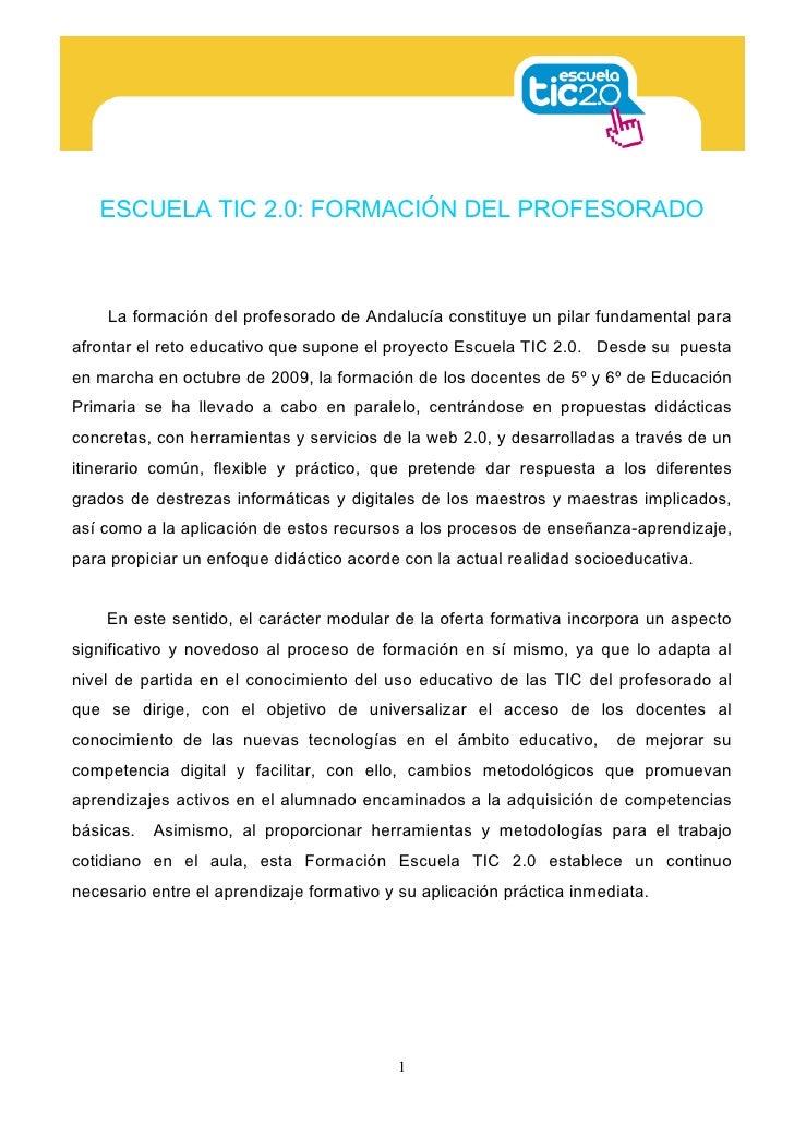 ESCUELA TIC 2.0: FORMACIÓN DEL PROFESORADO    La formación del profesorado de Andalucía constituye un pilar fundamental pa...