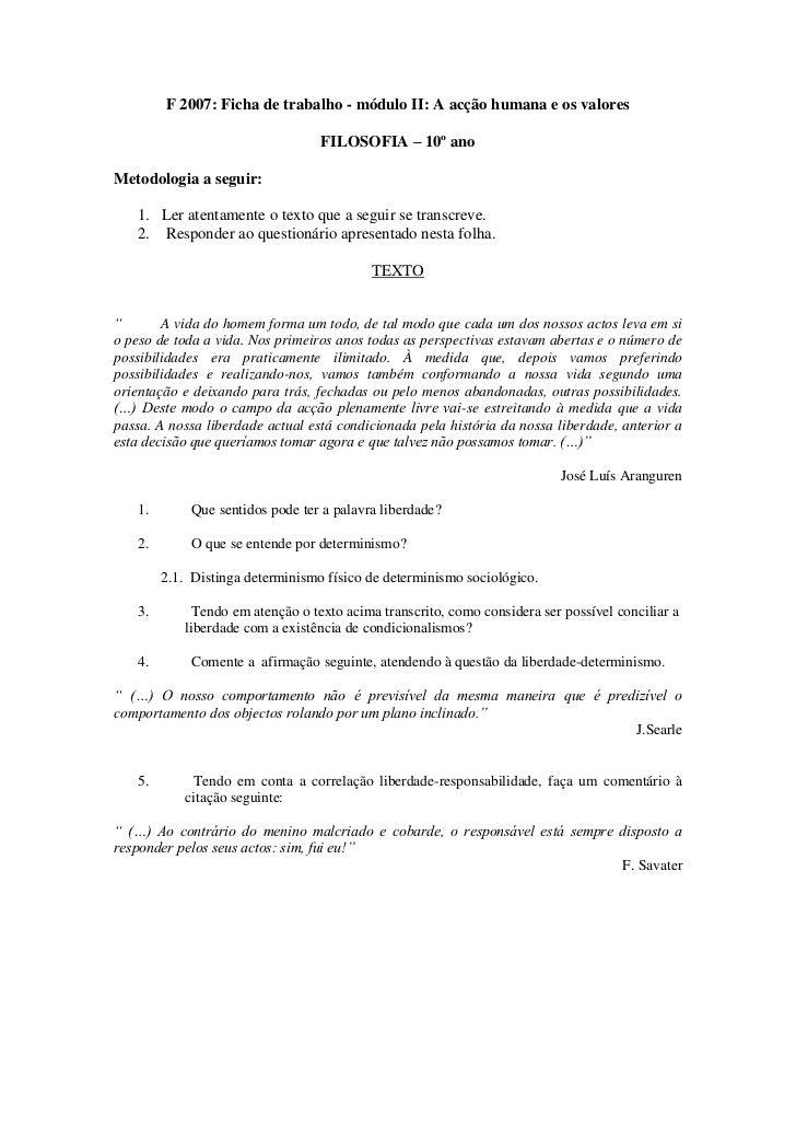 F 2007: Ficha de trabalho - módulo II: A acção humana e os valores                                  FILOSOFIA – 10º anoMet...