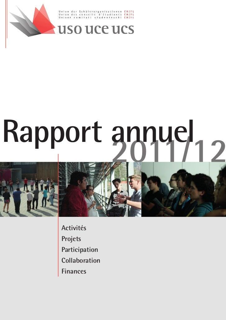 Rapport annuel        2011/12   Activités   Projets   Participation   Collaboration   Finances