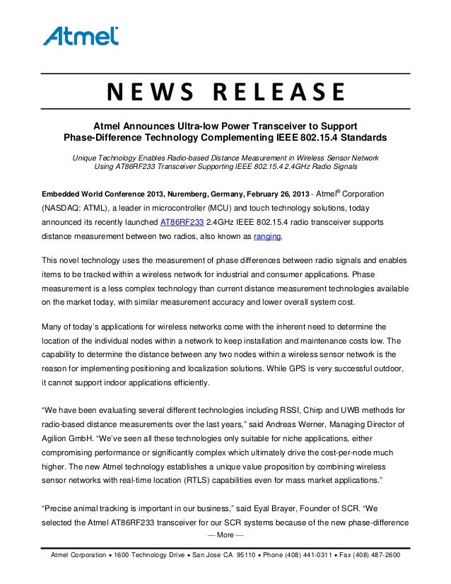 ⎯ More ⎯ Atmel Corporation • 1600 Technology Drive • San Jose CA 95110 • Phone (408) 441-0311 • Fax (408) 487-2600 NEWS...
