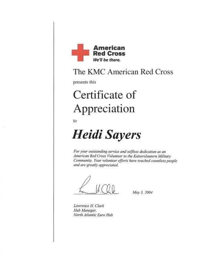 Kmc American Red Cross Certificatemay 2004