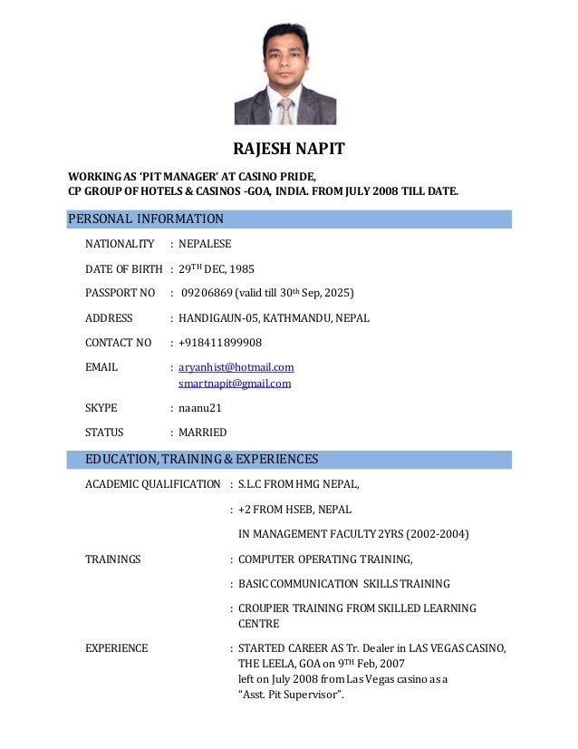 fancy casino management resume image collection administrative