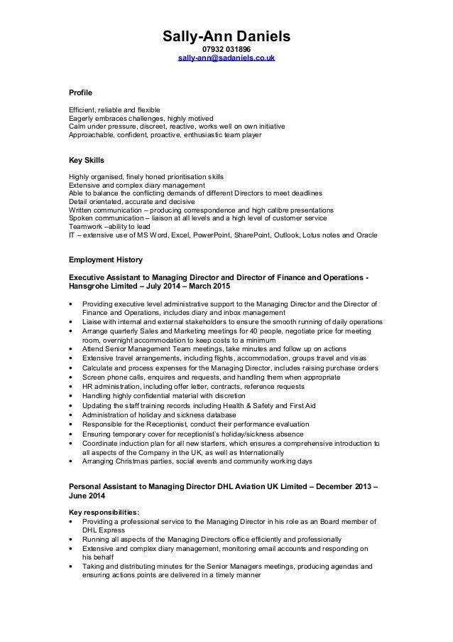 CV Sally-Ann Daniels - PA EA - May 2015