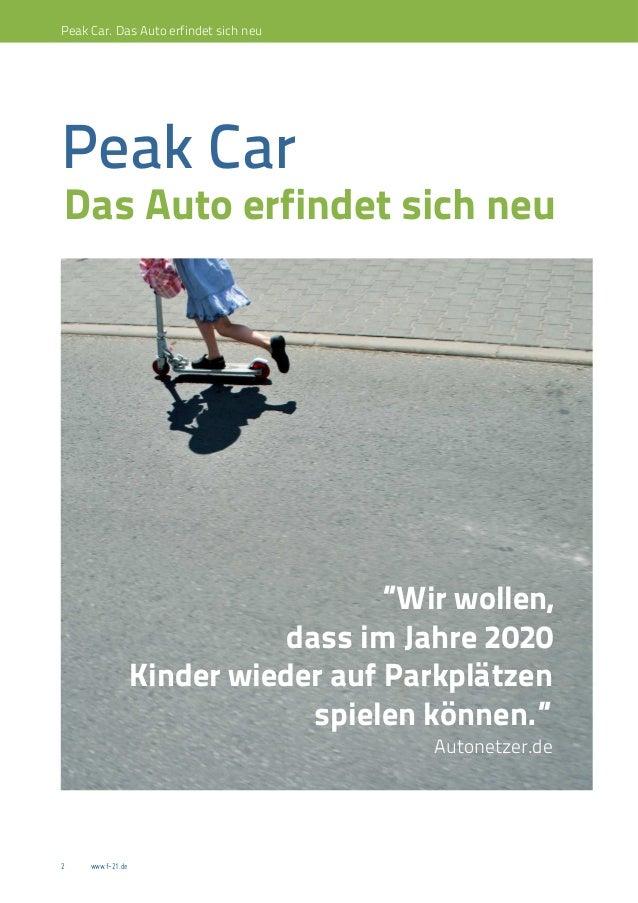 """Peak Car. Das Auto erfindet sich neuPeak CarDas Auto erfindet sich neu                                     """"Wir wollen,   ..."""